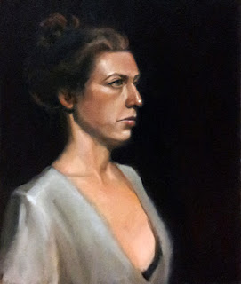 Oil painting of a woman with dark hair tied in a bun, and wearing a white top.