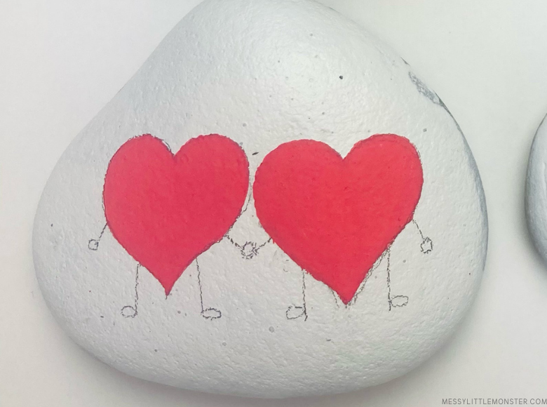 heart rock painting