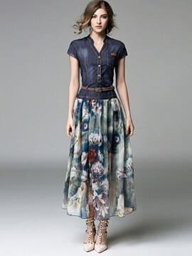 Denim Patchwork Cap Sleeve Women's Maxi Dress