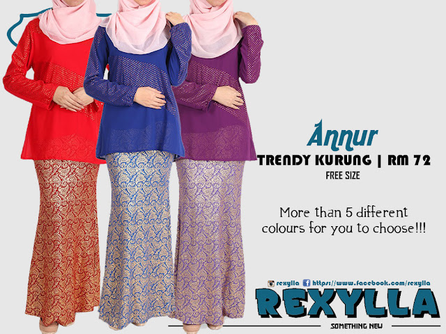 rexylla, trendy kurung, baju kurung, blouse, skirt, trumpet cut, gold print, annur collection