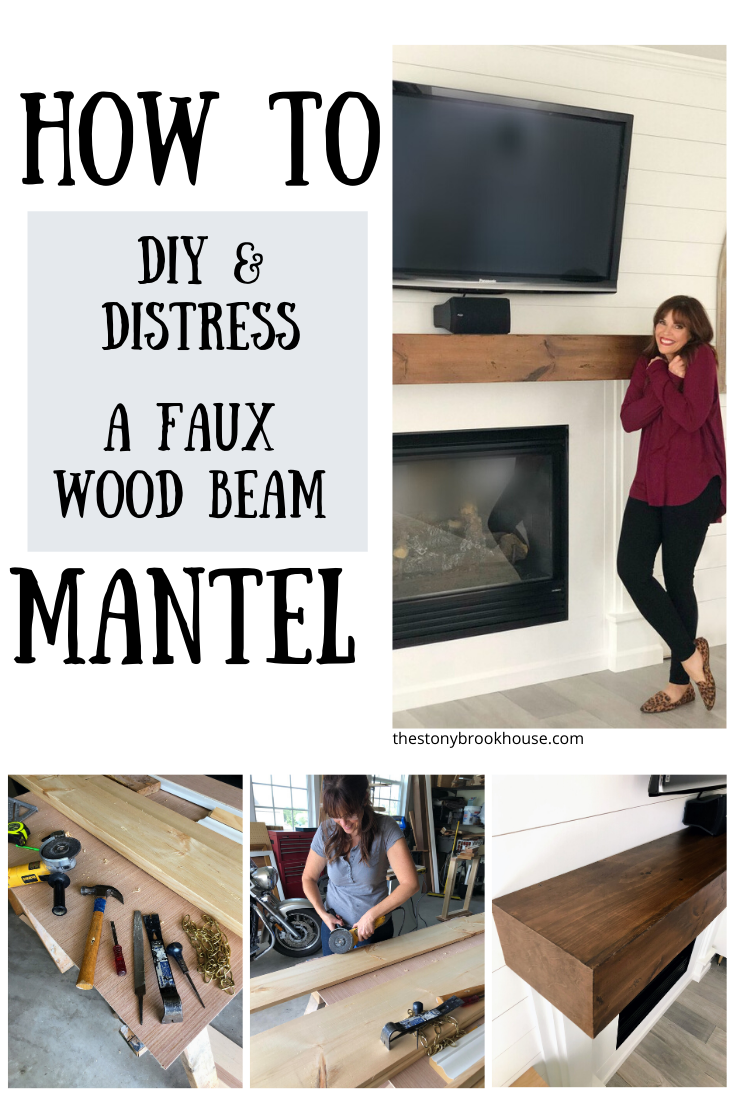 How To DIY & Distress A Faux Wood Beam Mantel