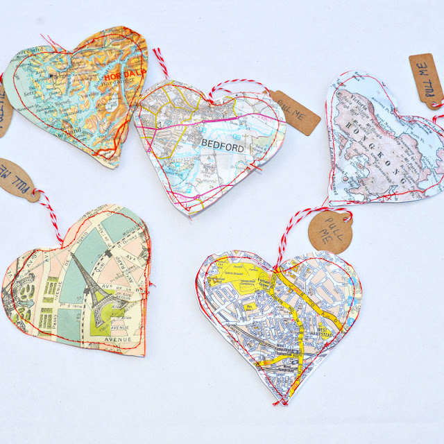 Map Heart Treat Bags