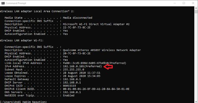 Membagi Bandwidth WIFI - Cek IP Address