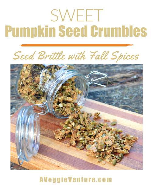 Sweet Pumpkin Seed Crumbles, a fall favorite ♥ A Veggie Venture, crunch clumps of honey-sweetened oats and pumpkin seeds, more nut brittle than granola.