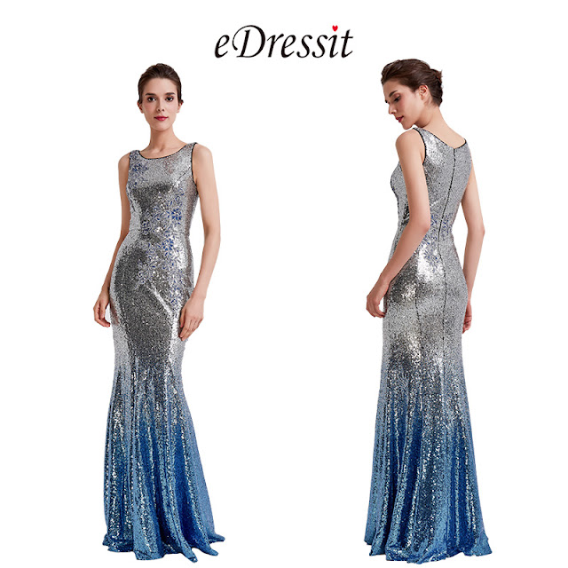 2019 new blue sequin party dress