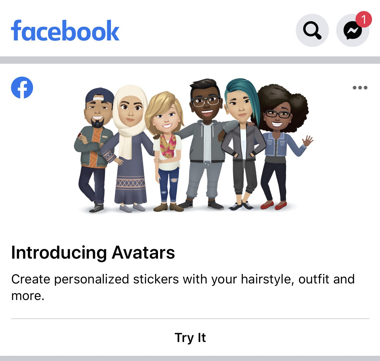 Facebook promoting its new avatars feature in news feed