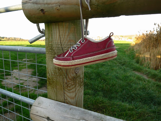 A shoe hangs from a wooden style.