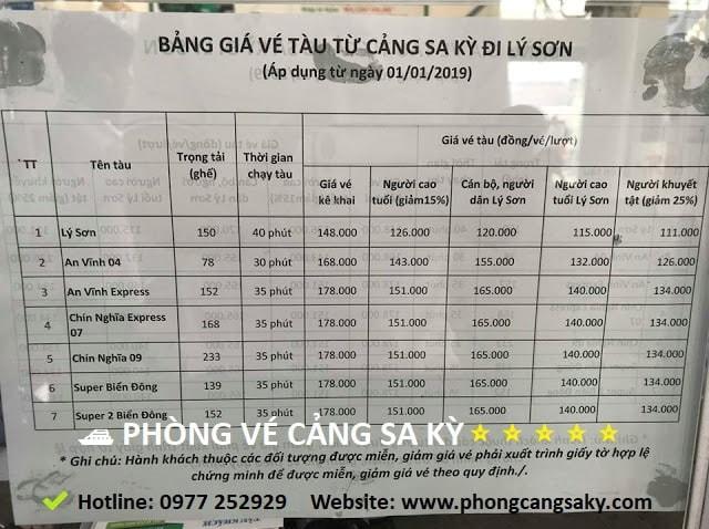 Bảng giá vé tàu Lý Sơn - Sa Kỳ mới nhất 2020
