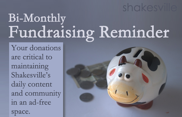 image of a white and black cow bank, with money beside it, on a grey background, to which I've added text reading: 'Shakesville | Bi-Monthly Fundraising Reminder | Your donations are critical to maintaining Shakesville's daily content and community in an ad-free space