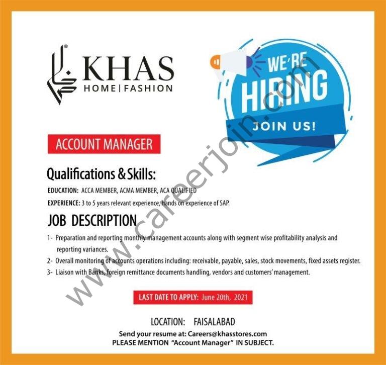 careers@khasstores.com - Khas Stores Jobs 2021 in Pakistan