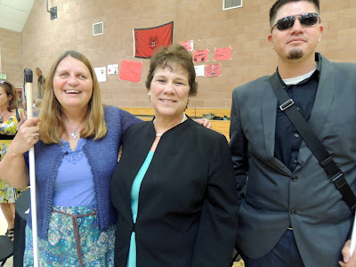 Julie Deden, Executive Director Colorado Center for the Blind;Dr. Nancy Benham, Superintendent  CSDB;Martin Becerra, Director Youth Programs CCB at welcome reception in CSDB gymnasium
