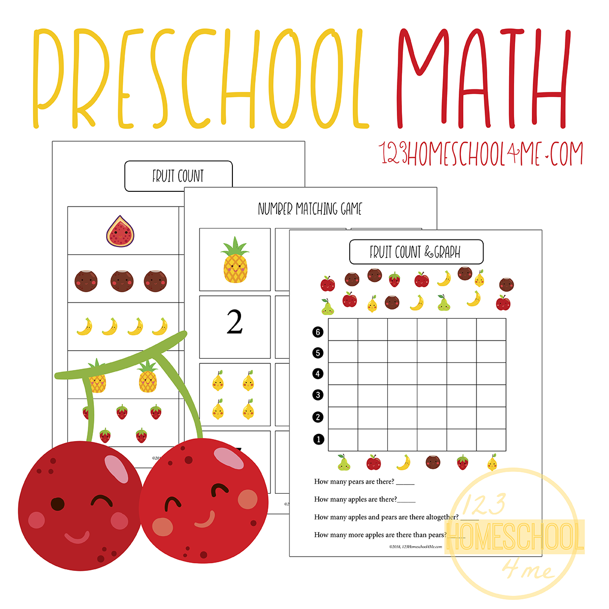 FREE Preschool Fruit Math Skills