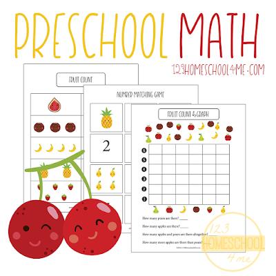 Fruit Preschool Math Worksheets