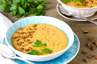 Ginger Cinnamon Potato Bisque With Smoked Paprika Pecans