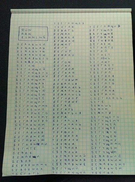 run ran running - множество значений слов в русском языке