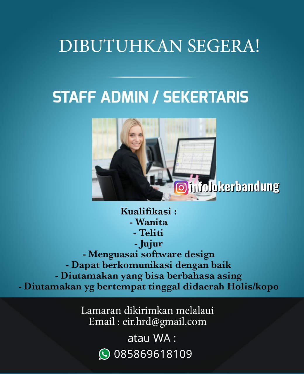 Lowongan Kerja Staff Admin / Sekertaris Bandung September 2019