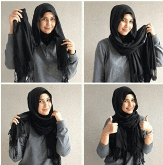 Tutorial hijab pashmina ala Ria Ricis Simple