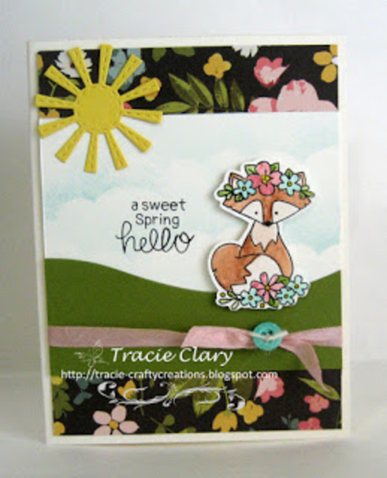 A sweet spring hello by Tracie features Woodland Spring by Newton's Nook Designs; #newtonsnook