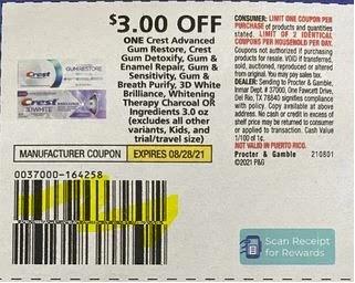 "$3.00/1 Crest Advanced Gum Rrestore, Crest Gum Detoxify, Crest Gum + Enamel Repair Coupon from ""P&G"" insert week of 8/1/21."
