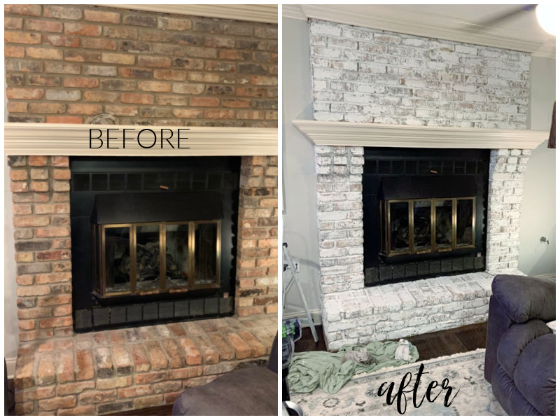before and after chalk painted fireplace