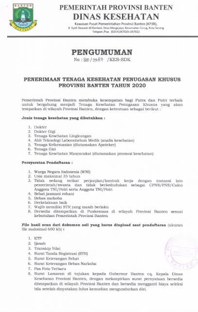 Penerimaan Tenaga Kesehatan Penugasan Khusus Provinsi Banten Tahun 2020