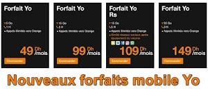 فورفي يو لأورنج Nouveaux forfaits mobile Yo