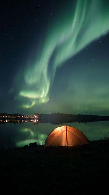 Tent, Camping, Lake, Night, Northern Lights