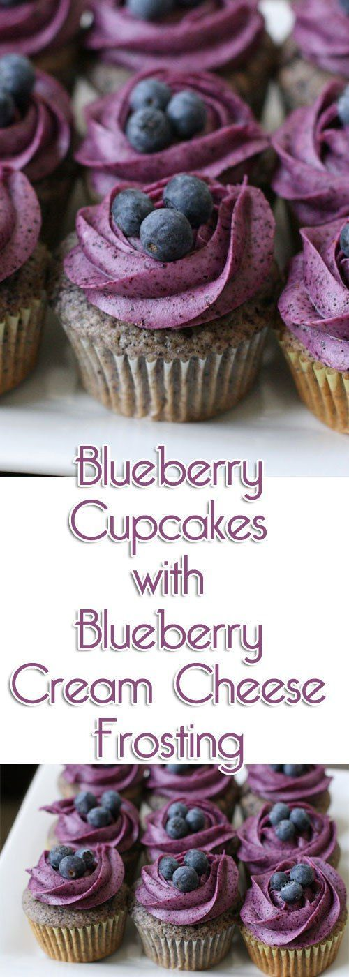 Blueberry Cupcakes with Blueberry Cream Cheese Frosting - #Blueberry #Cheese #Cream #Cupcakes #Frosting