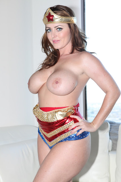 Sophie Dee sexy wonder woman naked boobs hands on waist