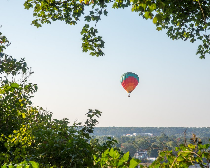Portland, Maine USA September 2017 photo by Corey Templeton. A balloon full of hot air, shortly after floating over the West End of Portland. Seems like a risky area to operate, but I bet they got some awesome photos from up there.