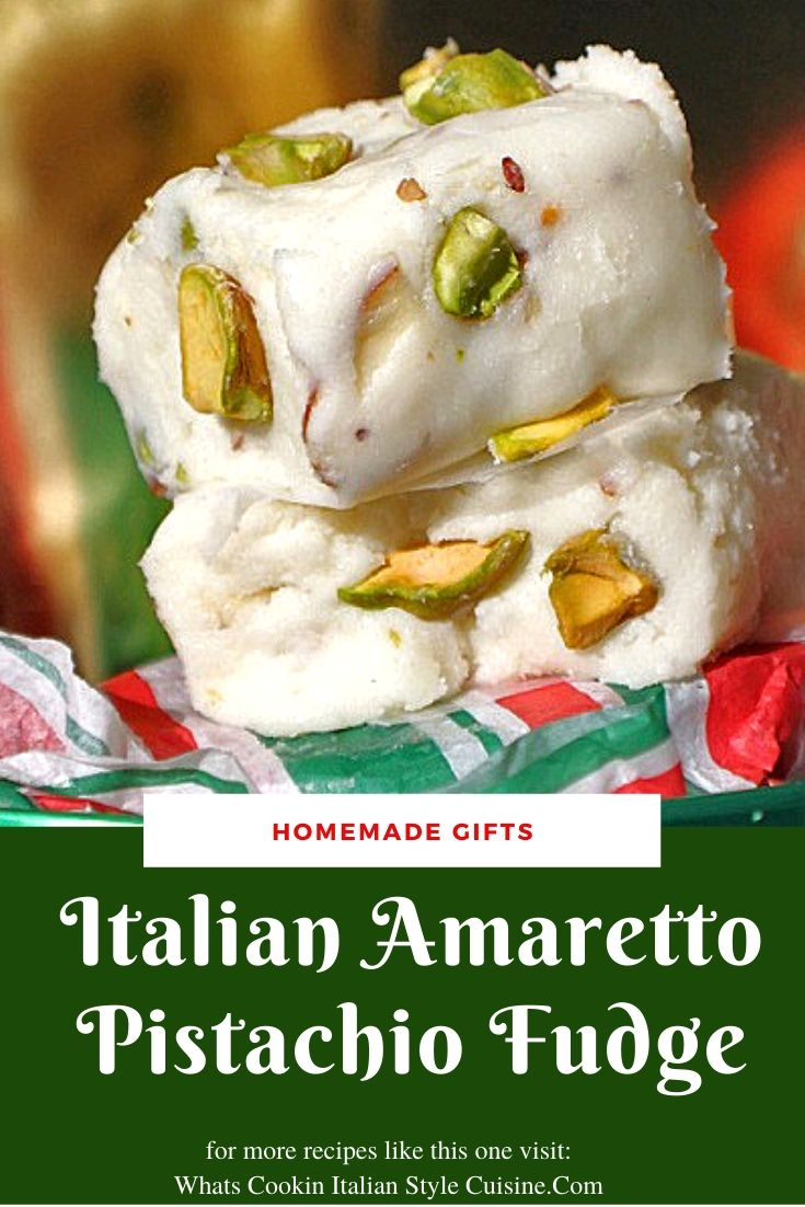 this is a quick amaretto pistachio fudge this is an easy how to make white chocolate amaretto fudge with pistachios in it in a green white and red paper Christmas tins for gift giving