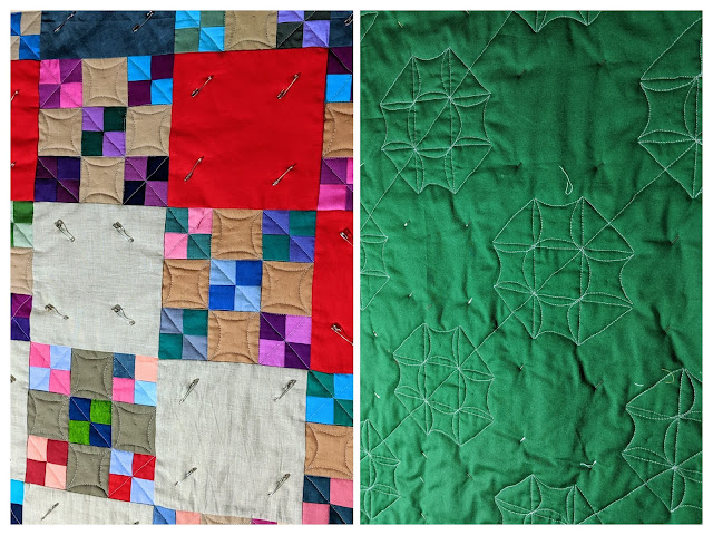 Two collaged photos show orange peel FMQ in progress from the front and back of the quilt.
