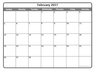 Free Printable Calendar February 2017