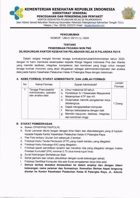 Penerimaan Pegawai Non PNS Kantor Kesehatan Pelabuhan Kelas III Palangkaraya
