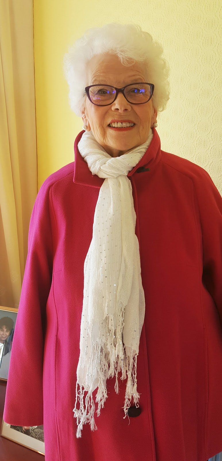 June Tyler, 84, in Marks and Spencer raspberry jacket