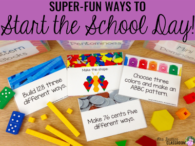 "Image of morning work activities with text, ""Super-Fun Ways to Start the School Day."""