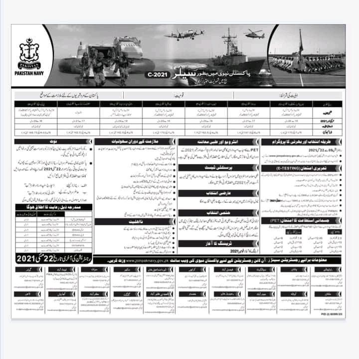 Join Pak Navy as Sailor Jobs 2021 - Online Registration - www.joinpaknavy.gov.pk Jobs 2021