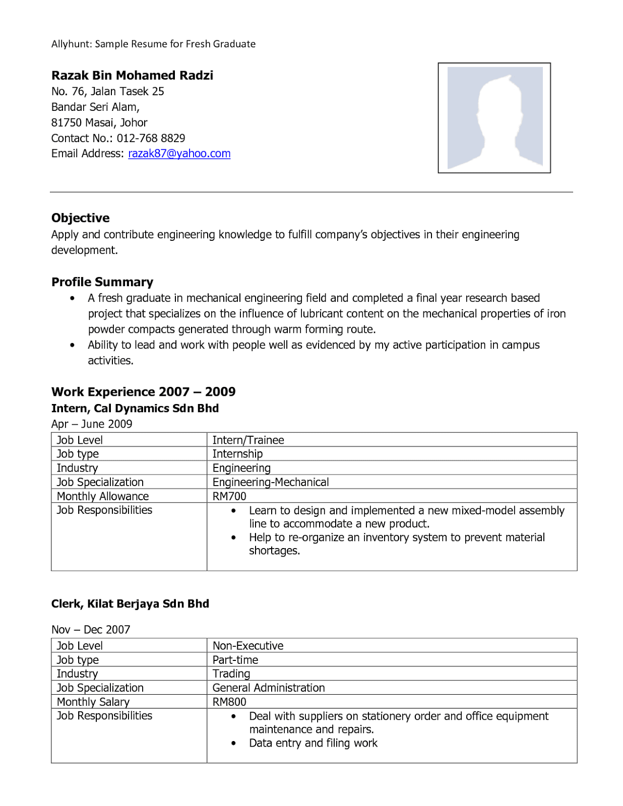Resume Sample for Fresh Graduate Without Experience - Free MS ...