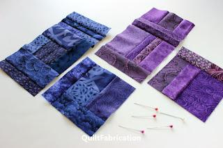 indigo and violet scrap quilt blocks by QuiltFabrication