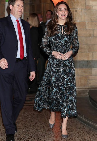 Duchess Catherine of Cambridge - Kate Middleton wore L.K. Bennett Cersei Evergreen Silk Dress