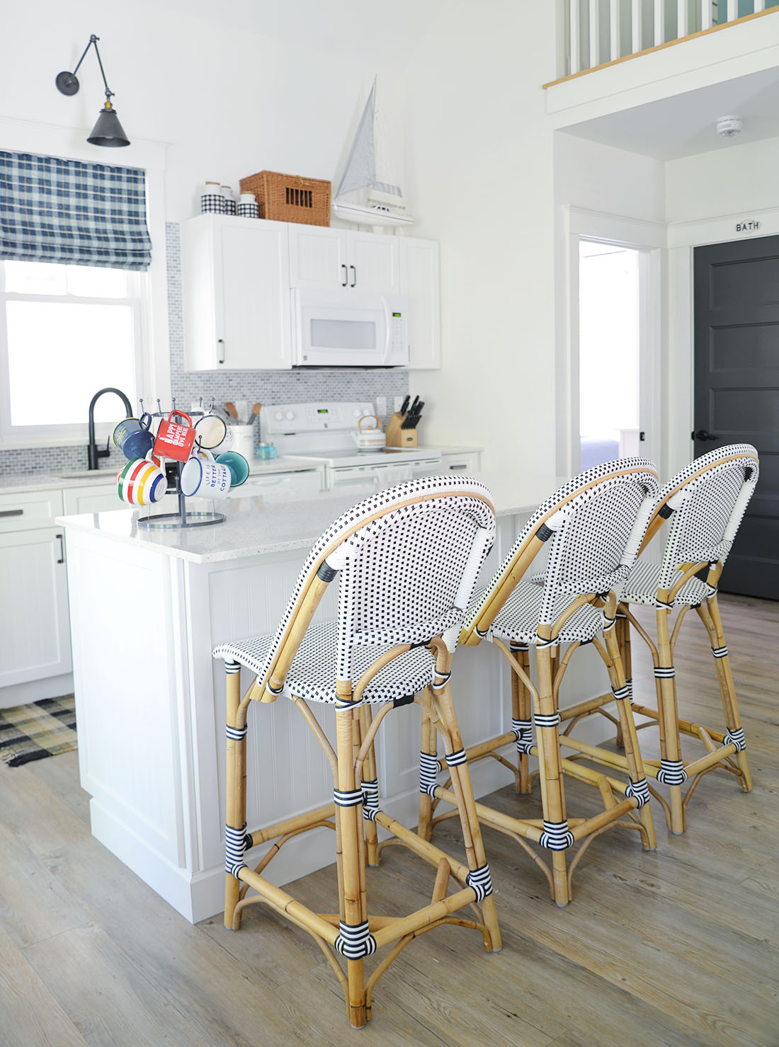 cottage kitchen with island, serena & lily riviera counter stools, modern country decor, cottage decor