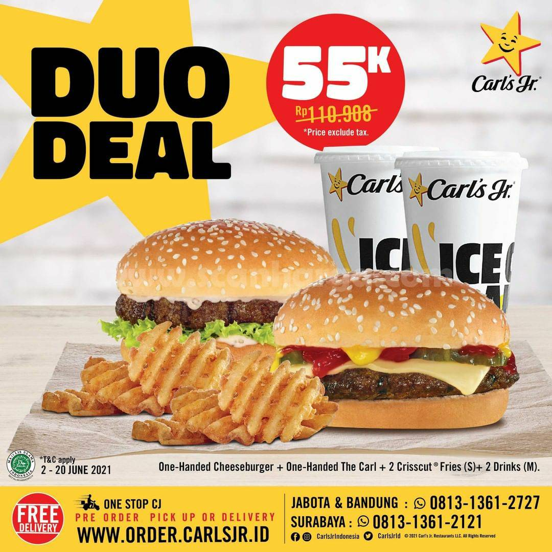 Promo CARLS JR DUO DEAL Periode 2 - 20 Juni 2021