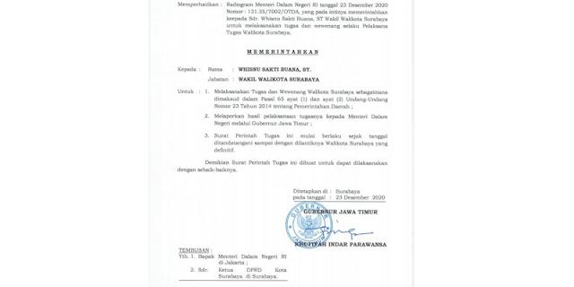 Surat Gubernur Jatim Sudah Terbit, Wisnu Sakti Buana Resmi Jabat Walikota Surabaya