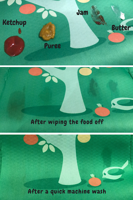 3 images showing the placemat with ketchup, puree, jam and butter on, then them wiped off and then after a machine wash (only a mark is visible where the butter was).