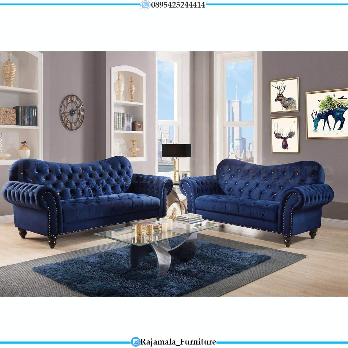 Sofa Tamu Minimalis Terbaru Chester Style Luxury Soft Beludru Fabric RM-0612