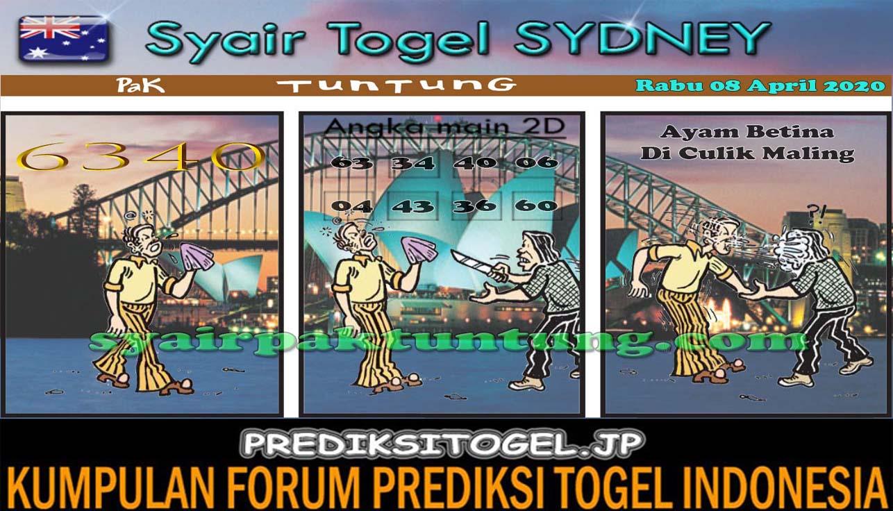 Prediksi Sydney Rabu 08 April 2020 - Syair Sydney Pak Tuntung
