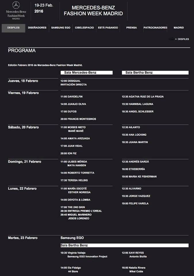 Programa Mercedes-Benz Fashion week Madrid 2016 mbfw