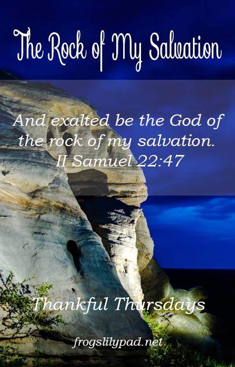 The Rock of My Salvation is perfect, immovable, and unchangeable. He stands beside you while facing life's battles. Thankful Thursdays linkup, frogslilypad.net