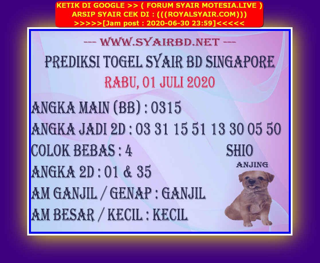 Kode syair Singapore Rabu 1 Juli 2020 240