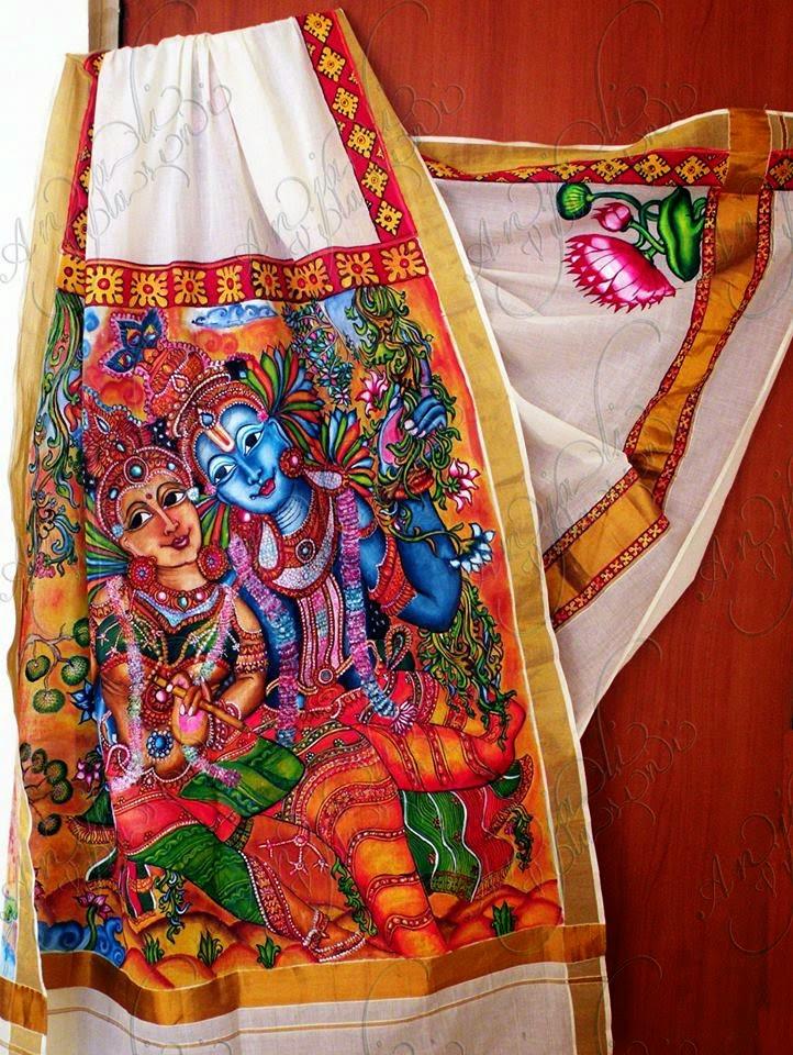 Anjali Vilasini: Kerala Saree with Hand painted Radha Krishna  Anjali Vilasini...